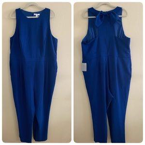 1901 Bow Back Jumpsuit Blue Mazarine Plus Size 22W